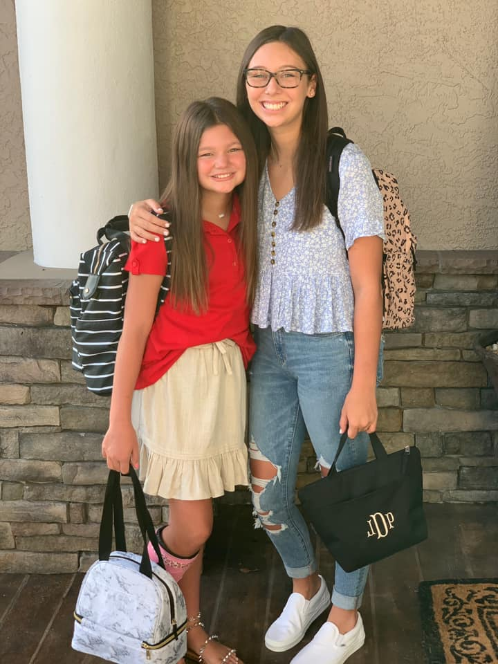 """""""Paitlyn heading to her last first day of elementary and Jaida going to her first ever day of high school!"""" — Natasha Bonds Davis"""